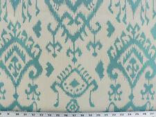 Drapery Upholstery Fabric Jacquard Tribal Ikat Design - Lt. Turquoise on Ivory