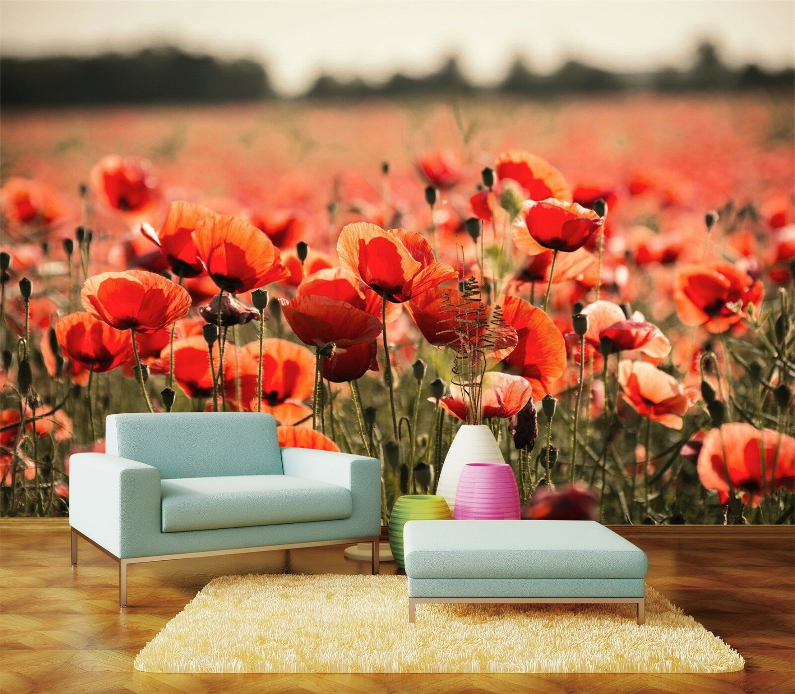 3D rot Flower Field 94 Wallpaper Mural Paper Wall Print Wallpaper Murals UK
