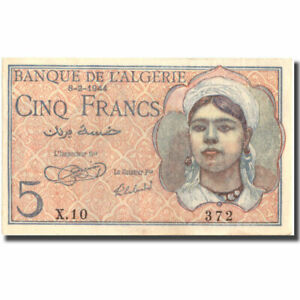 1944 60-62 Km:94a Unc 5 Francs Objective Banknote #215556 New Varieties Are Introduced One After Another Algeria 1944-02-08