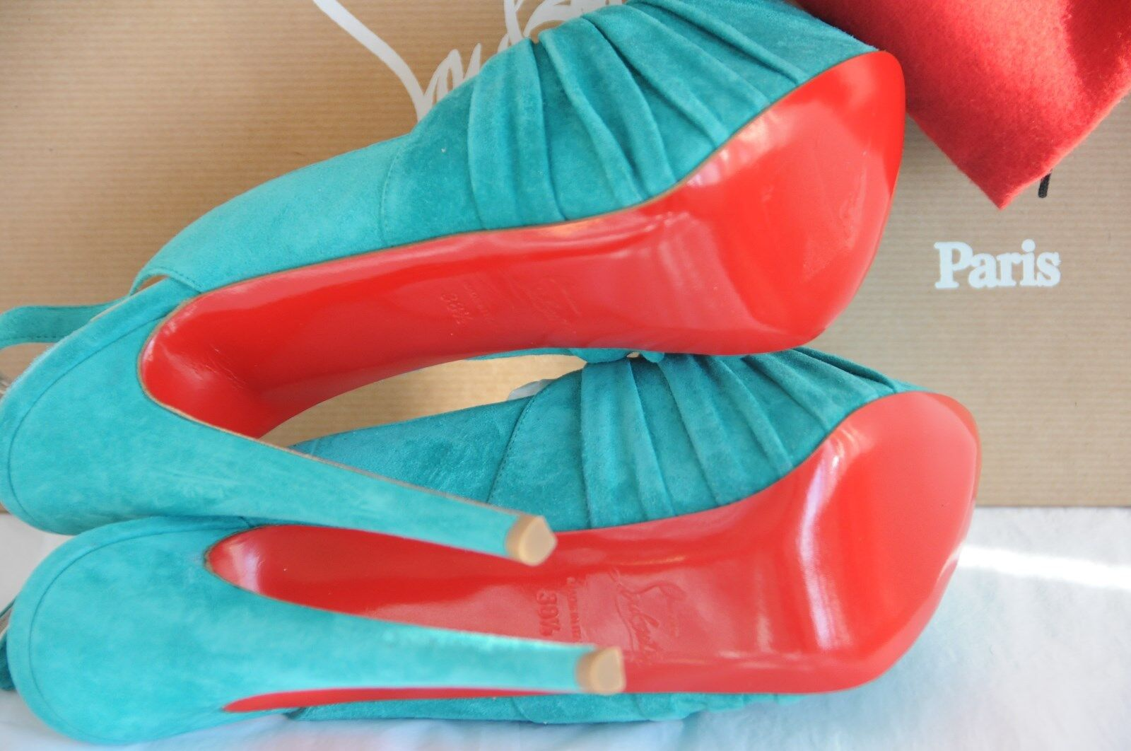 1145 New New New Christian Louboutin Miss Benin Turquoise 160 Double Plat schuhe 36 39.5 a7770c