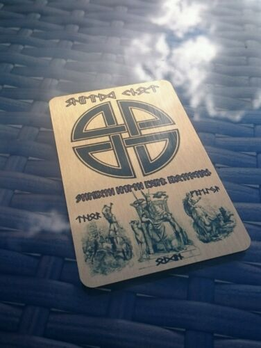 Viking Metal Wallet Inserts 5x Ancient Symbols Cards Your Name Printed in RUNES