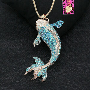 Betsey-Johnson-Enamel-Crystal-Goldfish-Pendant-Sweater-Chain-Women-039-s-Necklace