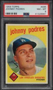 1959-Topps-BB-Card-495-Johnny-Podres-Los-Angeles-Dodgers-PSA-NM-MT-8