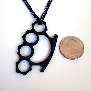 Gothic-Horror-Heavy-Metal-Punk-Rockabilly-Black-Brass-Knuckle-Pendant-Necklace