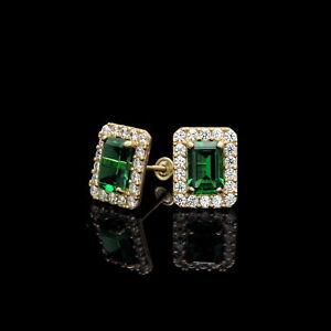 a05b7cb97 1.50CT Emerald Cut Green Halo Created Diamond Stud Earrings 14k ...