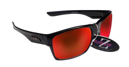 424 RayZor Uv400 Black Sports Wrap Sunglasses Red Mirrored Lens RRP£49