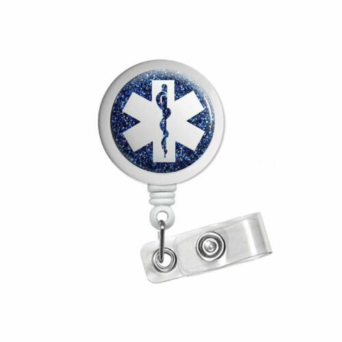 Sparkling Star of Life Retractable ID Badge Reel for nurse office student