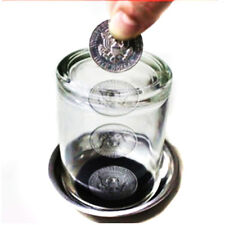 Coin Thru Into Glass Cup Tray Close up Easy Gimmick Magic Trick Props CN