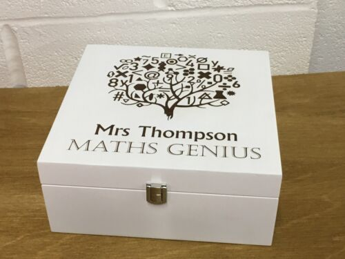 Maths Teacher Gift Personalised Wooden Box Math Genius Trinkets Stationary