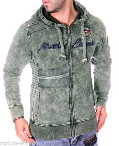 Hommes pull pull chemise Longue Hoodie délavée washed aspect use vintage NEUF
