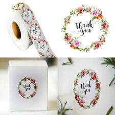 1.5 inch Diameter Thank You... Floral Thank You Sticker Quantity 1000 on a roll