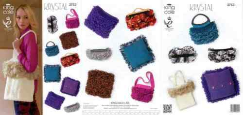 King Cole Knitting Pattern 3753 Ladies Bags Cushions Accessories Krystal Chunky