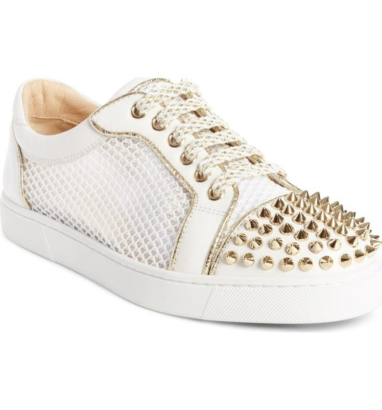 LOUBOUTIN AC VIEIRA LIGHT gold SPIKE LATTE LEATHER MESH LOW TOP SNEAKERS 40.5