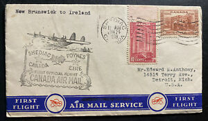 SOLD-1939-Shediac-Canada-First-Flight-Airmail-Cover-FFC-To-Ireland