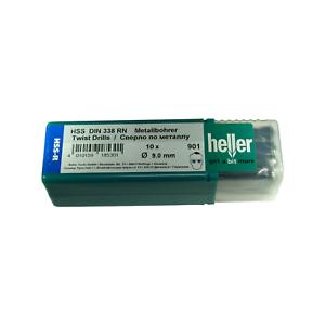 Heller 9mm HSS-R Twist Metal Drill Bits 10 Pack Rolled HSS Jobber German Tools
