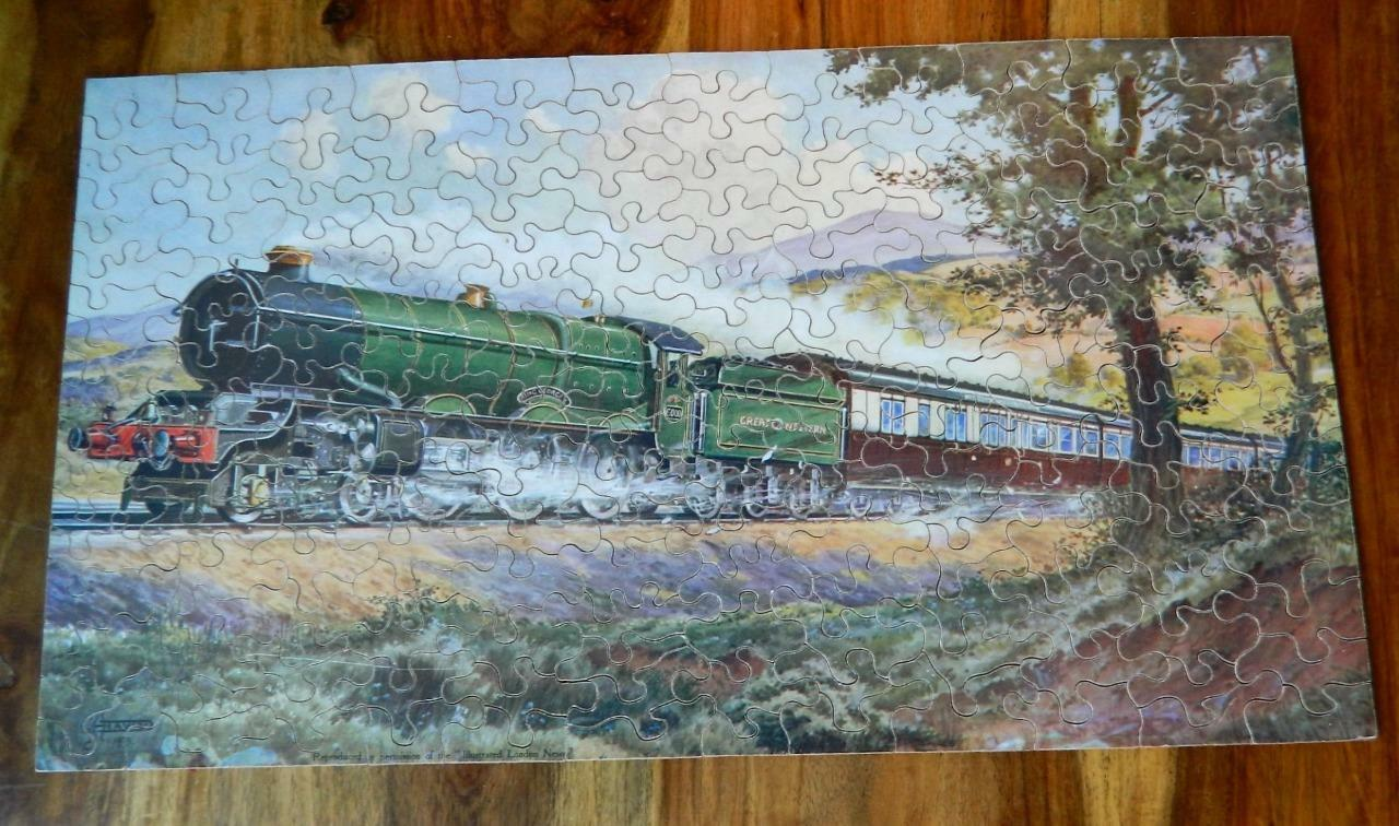 GWR Chad Valley vintage 1933 in scatola in legno Puzzle Royal itinerario verso Occidente