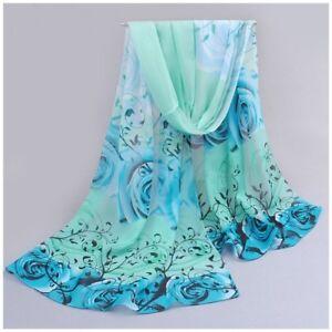 destockage foulard écharpe neuf mousseline de soie des roses bleu ... eb5787911a7