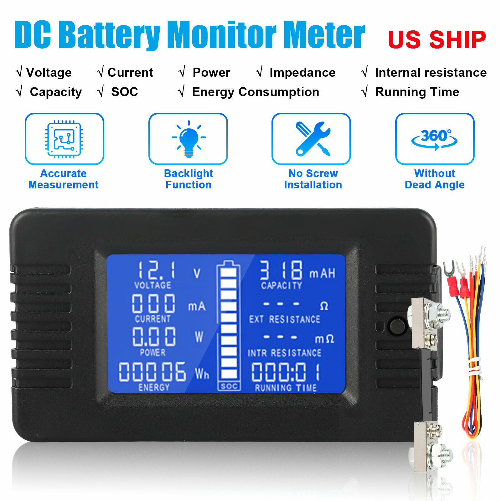 DROK DC 0-200V 10A Digital LCD Volt Amp Multimeter