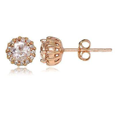 18K Rose Gold Plated Sterling Silver Morganite 4mm Halo Stud Earrings