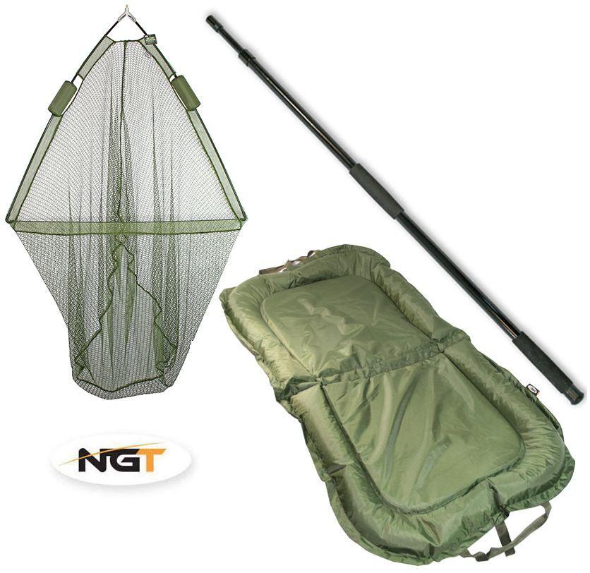 42  NGT Carp Fishing Dual Landing Net + 2m Net Handle + Padded NGT Beanie Mat