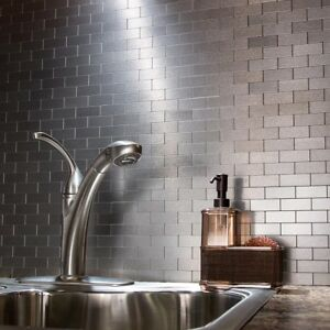Details About Peel And Stick Tile Self Adhesive Silver Stainless Metal Wall Kitchen Backsplash