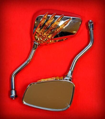 skull mirror moto PAIRE de rétroviseur  Mains de Squelette OR /& Chrome Neuf