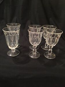 Vintage-Fostoria-Virginia-Clear-Glass-4-Wine-amp-2-Water-Goblets-See-Pics