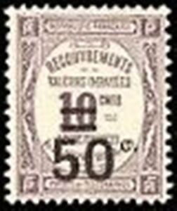FRANCE-STAMP-TIMBRE-TAXE-YVERT-51-034-RECOUVREMENT-50c-s-10c-VIOLET-034-NEUF-xx-TTB