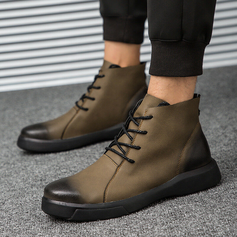 Men Ankle Winter Leather Boots Retro Combat Motorcycle Riding LaceUp Casual shoes