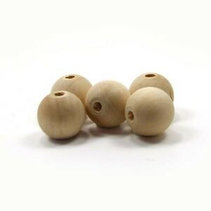 Bead Round - 7/8 inch x 3/16 hole 22mm unfinished wood (WW-BE1080)