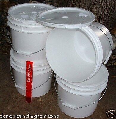 4 ROPAK USA Used Food-Grade Plastic Round Bucket Pail w/Handle+EZ LID 3.5 US Gal