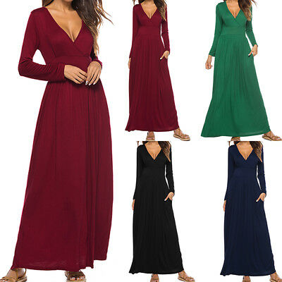 Womens Plus Size Summer Casual Maxi Dresses 3//4 Sleeve Button up Plain Long Dress with Pockets