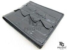 PELGIO Genuine Crocodile Alligator Tail Skin Leather Bifold Men's Wallet Black