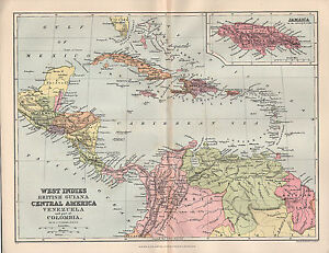 1897 VICTORIAN MAP ~ WEST INDIES BRITISH GUIANA ~ CENTRAL AMERICA ...
