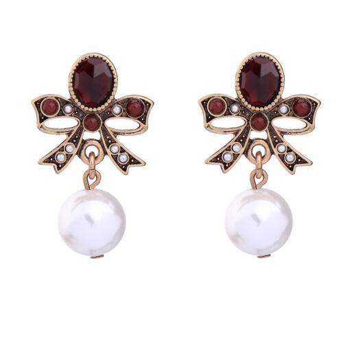 Classic simulé perles Rouge Noeud Boucles D/'oreilles Pour Fête ed00611b