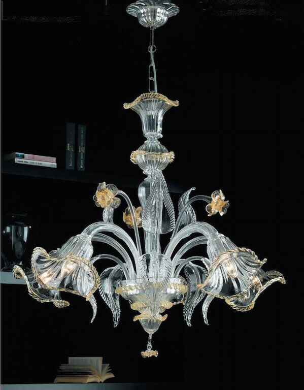 Lampadario in vetro di Murano classico Giulio da soffitto chandelier 6 luci Gold