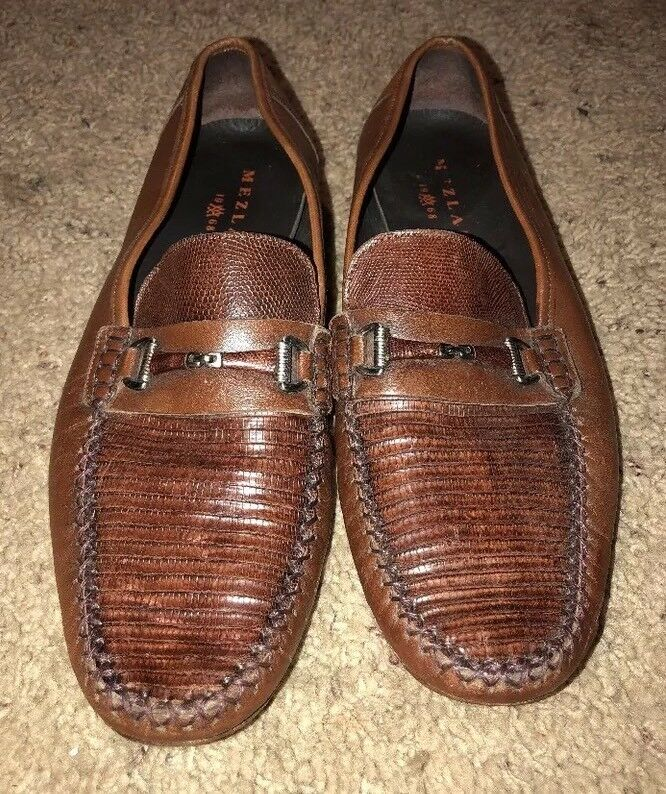 Mezlan Genuine Lizard Penny Loafer Oxford Brown Size 10 M Shoes  Buckle