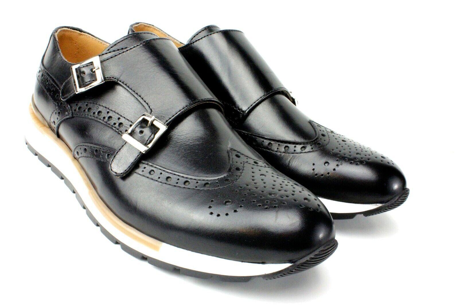 IVAN TROY Arthur Black MonkStrap Italian Leather Dress shoes Oxford Office shoes