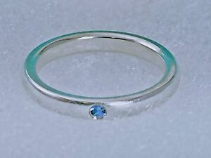 TIFFANY-amp-CO-Peretti-Silver-Sterling-Stacking-Blue-Sapphire-Ring-Sz-5-w-Box