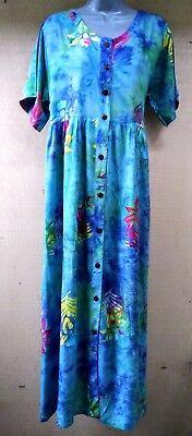 Batik Bali Indonesia Blue Fern Leaf  Sleeveless Long Dress Hippie Boho  NWT XL