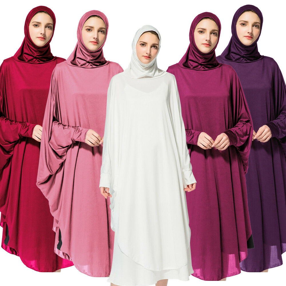 Ramadan Women Hijab Prayer Long Dress Muslim Overhead Scarf Robe Islamic Clothes