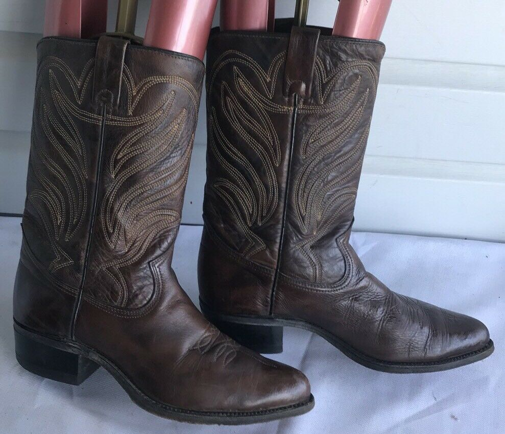 Vintage RODEO Boot Company Brown LEATHER WESTERN Cowboy Boots Size 9.5D