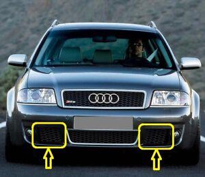 Genuine-Audi-RS6-C5-02-05-Parrilla-Inferior-Parachoques-delantero-izquierda-derecha-Par-Set-Negro