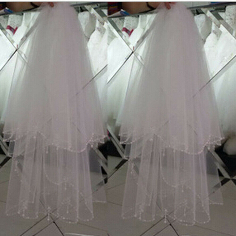 2 Tier Beaded Wedding Veil Short with Comb Fingertip White/Ivory 1.5M Length