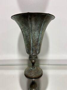 Mediterranean Design Metal Urn Planter Aged Brass Color Vase