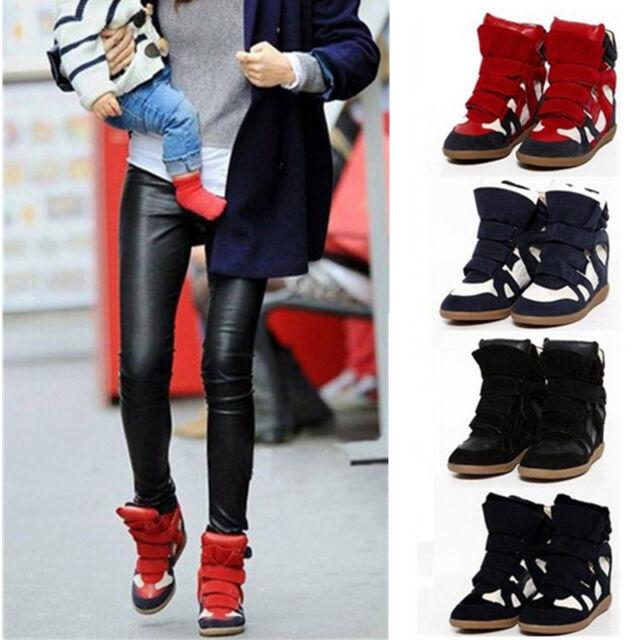 Women Strap High-Top Sneakers Shoes Wedge Hidden Heel Ladies Ankle Boots