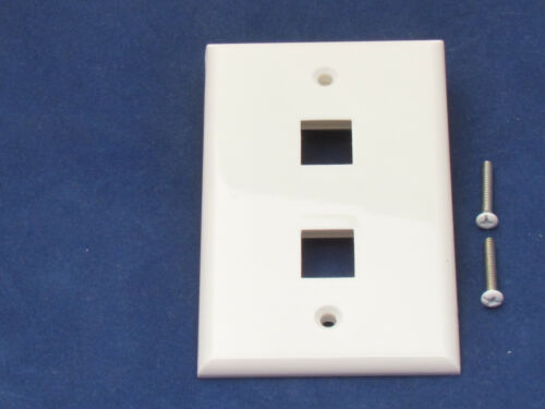 10 Faceplate 2 Port Keystone Jack RJ45 CAT5 CAT5e CAT6 Network Wall Plate White