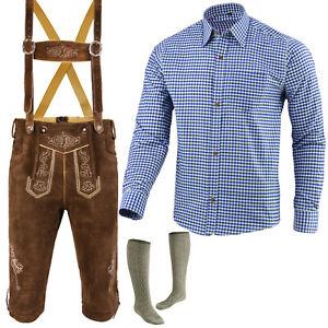 Trachten-Set-Herren-Trachtenlederhose-Hemd-Socken-Groesse-46-bis-62-LE1BLSO