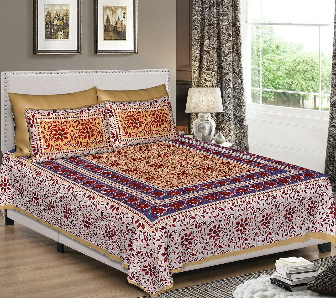 Indian Floral Print Soft 100% Pure Cotton Bed Sheet With Two Pillow Covers Set