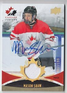 2014-15-UD-CANADA-JUNIORS-MASON-SHAW-AUTO-PATCH-199-137-GAME-USED-Upper-Deck